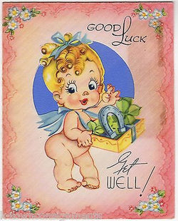 Lucky Horsehoes & Four Leaf Clovers Cute Baby Girl Vintage Graphic Get Well Card - K-townConsignments