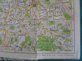 LONDON & SUBURBS BACON'S RUBY MAP ANTIQUE LINEN FOLD-OUT MAP TOURISTS GUIDE - K-townConsignments