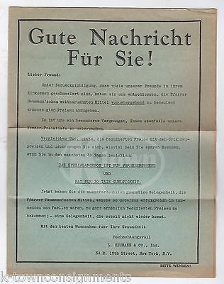 GERMAN PRIEST FATHER LUDWIG HEUMANN PHARMACEUTICAL MEDICINE ADVERTISING FLYER - K-townConsignments