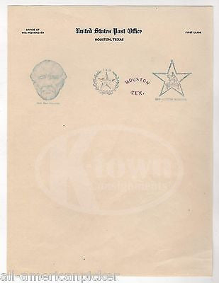 GENERAL SAM HOUSTON TEXAS ANTIQUE UNITED STATE POST OFFICE STAMPS LETTERHEAD - K-townConsignments