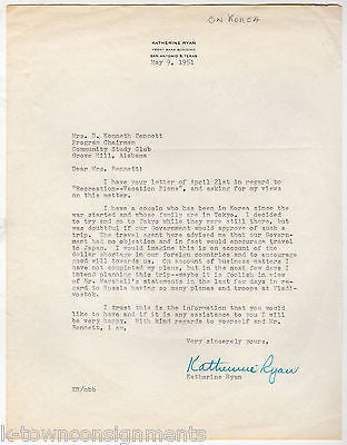 COLD WAR KOREA TRAVEL RESTRICTIONS AUTOGRAPH SIGNED LETTER SAN ANTONIO TX 1951 - K-townConsignments