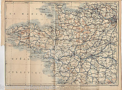 Western France Nantes Normady Brest Antique Fold Out Map Wagner