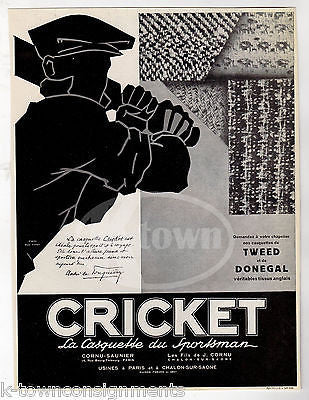CRICKET TWEED SPORTS COATS VINTAGE 1930s GRAPHIC ADVERTISING POSTER PRINT - K-townConsignments