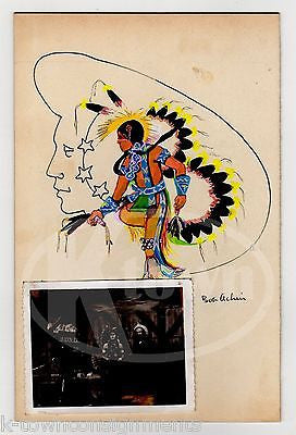 NATIVE AMERICAN INDIAN DANCER BOB ACHIN ARTIST SIGNED FOLK ART PAINTING & PHOTO - K-townConsignments