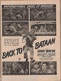 JOHN WAYNE BACK TO BATAAN MOVIE ACTOR VINTAGE MAGAZINE FILM ADVERTISING PRINT - K-townConsignments