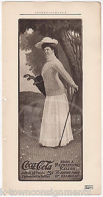 VICTORIAN LADY GOLFER ANTIQUE GRAPHIC ART COCA-COLA COKE SODA ADVERTISING PRINT - K-townConsignments