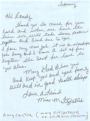MARY FITZPATRICK CARTER WHITE HOUSE EX-CON NANNY AUTOGRAPH SIGNED LETTERHEAD - K-townConsignments