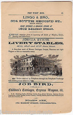NOAH'S ARK JOSHUA EVANS LIVERY STABLE PHILA PA ANTIQUE GRAPHIC ADVERTISING PRINT - K-townConsignments