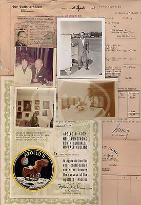 WWII SHANGHAI GHETTO JEWISH REFUGEE PAPERS NASA APOLLO 11 AWARD CERTIFICATE LOT - K-townConsignments