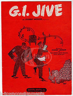 GI JIVE JOHNNY MERCER SONG VINTAGE WWII GRAPHIC ILLUSTRATED SHEET MUSIC 1943 - K-townConsignments