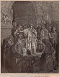 Jewish Queen Vashti Refuses to Obey Antique Religious Bible Engraving Print - K-townConsignments