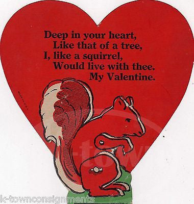 CREEPY CUTE SQUIRREL POEM VINTAGE GRAPHIC ART VALENTINE'S DAY GREETINGS CARD - K-townConsignments
