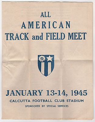 WWII US FORCES CALCUTTA FOOTBALL CLUB TRACK & FIELD MEET ORIGINAL PROGRAM 1945 - K-townConsignments