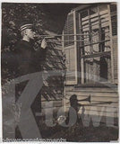 YOUNG MAN BAND UNIFORM PLAYING TROMBONE SHADOWS VINTAGE ARTISTIC SNAPSHOT PHOTO - K-townConsignments