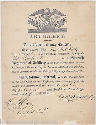 WAR OF 1812 NEW YORK 11th ARTILLERY CORNELIUS HARSEN AUTOGRAPH SIGNED DOCUMENT - K-townConsignments