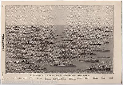 WWI SUNKEN DESTROYED CRUISERS & WAR SHIPS ANTIQUE NAVAL ILLUSTRATION PRINT 1916 - K-townConsignments