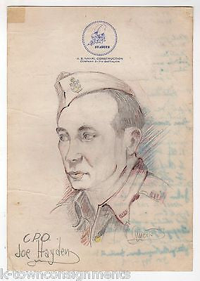 7th US NAVAL CONSTRUCTION BATTALION FULLY AUTOGRAPH SIGNED COMPANY ART DRAWING - K-townConsignments