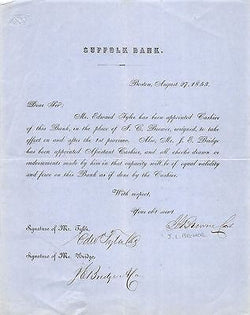 EDWARD TYLER JEREMIAH BRIDGE SUFFOLK BANK BOSTON ANTIQUE AUTOGRAPH SIGNED DOC - K-townConsignments