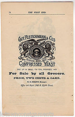 GAFF FLEISCHMANN YEASTS PHILADELPHIA GA GROCERS ANTIQUE ADVERTISING PRINT PAGE - K-townConsignments