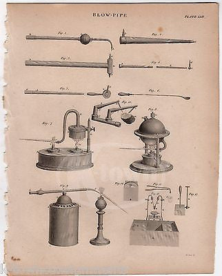SCIENCE CHEMISTRY FLAME BLOWER APPARATUS ANTIQUE GRAPHIC ENGRAVING PRINT 1832 - K-townConsignments
