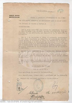 JUAN PERON ARGENTINA PRESIDENT MILITARY OFFICER WWII AUTOGRAPH SIGNED DOCUMENT - K-townConsignments