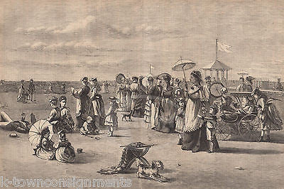 ATLANTIC CITY BEACH SCENE CROCKETT & CARRIAGES ANTIQUE ENGRAVING PRINT 1873 - K-townConsignments