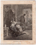 Isaac Blesses Jacob Genesis 27 Israel Heritage Antique Bible Engraving Print - K-townConsignments
