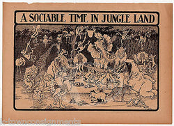 A SOCIABLE TIME IN THE JUNGLE LAND ANTIQUE WILDLIFE CARTOON ILLUSTRATION PRINT - K-townConsignments