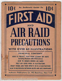 FIRST AID AIR RAID PRECAUTIONS VINTAGE WWII GRAPHIC MILITARY HOMEFRONT BOOK - K-townConsignments
