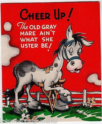 Cheer Up Old Gray Mare Vintage Old Age Humor Graphic Art Get Well Greetings Card - K-townConsignments