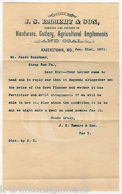 JS EMMERT HARDWARD FARM TOOLS COAL SALES HAGERSTOWN ANTIQUE ADVERTISING LETTER - K-townConsignments