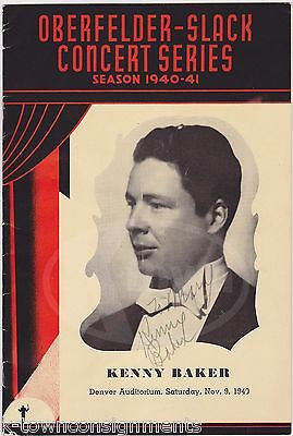 KENNY BAKER CHRISTIAN SCIENCE STAGE ACTOR AUTOGRAPH SIGNED CONCERT PROGRAM - K-townConsignments