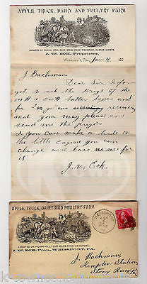 J.W. ECK WEISSPORT PA APPLE DAIRY POULTRY FARM ANTIQUE GRAPHIC ADVERTISING MAIL - K-townConsignments