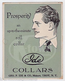 IDE COLLAR COMPANY TROY NY ANTIQUE MENS CLOTHING ART DECO ADVERTISING CARD - K-townConsignments