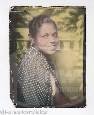 LOVELY YOUNG BLACK WOMAN NEW YORK CITY ANTIQUE COLORED SNAPSHOT PHOTO - K-townConsignments