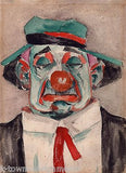 SAD CIRCUS CLOWN LOOKING TIRED & MOPEY VINTAGE WATERCOLOR CLOWN PAINTING - K-townConsignments