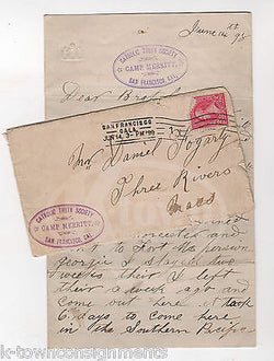 SPANISH AMERICAN WAR PHILIPPINES SOLDIER SIGNED LETTER ABOUT ENLISTMENT 1898 - K-townConsignments