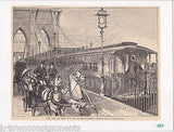 BROOKLYN BRIDGE RAILROAD SUBWAY CARS ANTIQUE GRAPHIC NEWS ENGRAVING PRINT 1883 - K-townConsignments