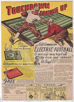 ELECTRIC FOOTBALL BASEBALL COLLEGE BASKETBALL ANTIQUE TOYS ADVERTISING PRINT - K-townConsignments