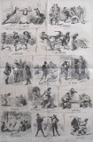 DUELING ARGUING THROUGHOUT THE WORLD HUMOROUS ANTIQUE ENGRAVING PRINT POSTER - K-townConsignments