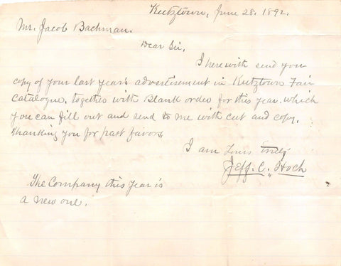 JEFF HOCH KUTZTOWN PA ANTIQUE AUTOGRAPH SIGNED LETTER TO STONY RUN PA 1892 - K-townConsignments