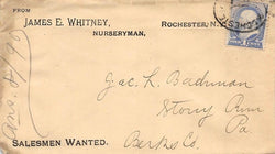 JAMES WHITNEY NURSERY ROCHESTER NEW YORK ANTIQUE ADVERTISING POSTAL MAIL COVER - K-townConsignments