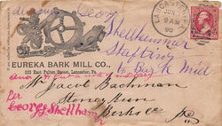 EUREKA BARK MILL CO LANCASTER PA FARMING ANTIQUE GRAPHIC ADVERTISING MAIL COVER - K-townConsignments