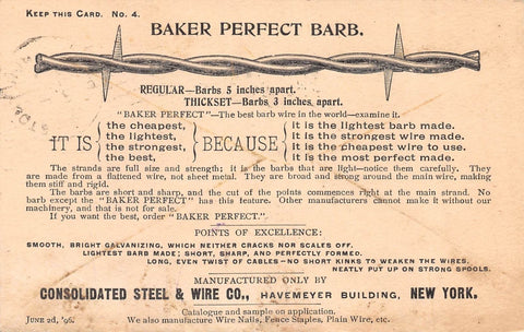 CONSOLIDATED BARB WIRE & STEEL NEW YORK ANTIQUE ADVERTISING POSTCARD 1896 - K-townConsignments