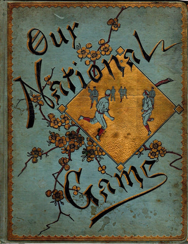 "BASEBALL OUR NATIONAL GAME GREAT ANTIQUE GRAPHIC FOLK ART BOOK COVER 10.5x14"" - K-townConsignments"