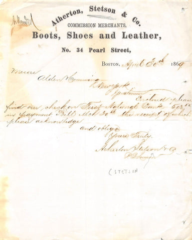 ATHERTON STETSON BOOTS SHOES & LEATHER BOSTON MA SIGNED ADVERTISING LETTER 1869 - K-townConsignments