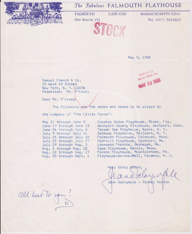 JEAN DALRYMPLE FALMOUTH PLAYHOUS PROPRIETOR Y PLAYWRIGHT AUTOGRAPH SIGNED LETTER - K-townConsignments