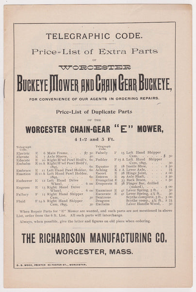 BUCKEYE MOWER & CHAIN GEAR ANTIQUE RICHARDSON WORCESTER MA FARM TOOL PRICE LIST - K-townConsignments