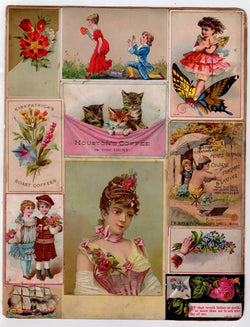 HOUSTON COFFEE KITTY CATS CUTE GIRLS ANTIQUE GRAPHIC ADVERTISING TRADE CARDS LOT - K-townConsignments