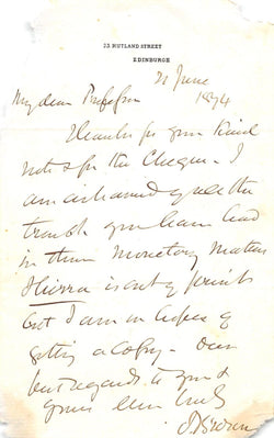 JOHN BROWN SCOTTISH PHYSICIAN & LEISURE HOURS BOOK AUTHOR AUTOGRAPH SIGNED NOTE - K-townConsignments